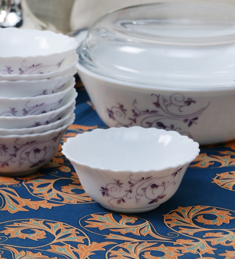 La Opala Diva Dazzle Purple Opal Ware 110ML Veg Bowl - Set of 6