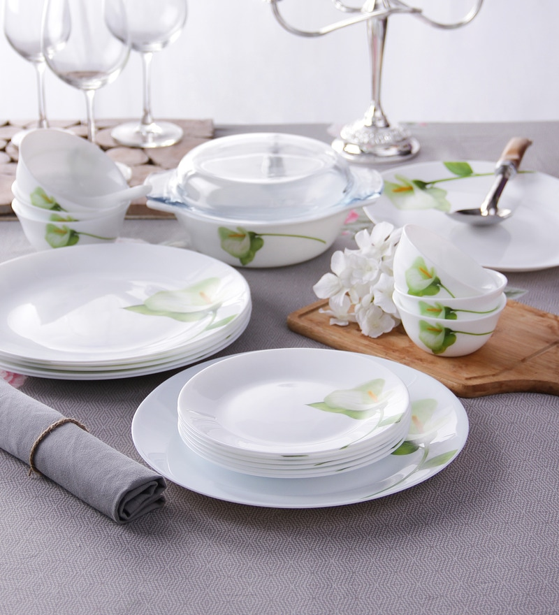 Diva Ivory Blush Opal Ware 35-Piece Dinner Set by La Opala