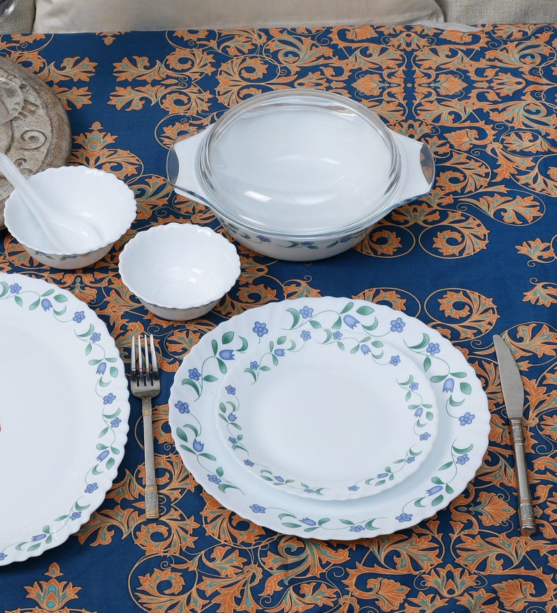 Diva Juniper Blue Opal Ware 35-Piece Dinner Set by La Opala