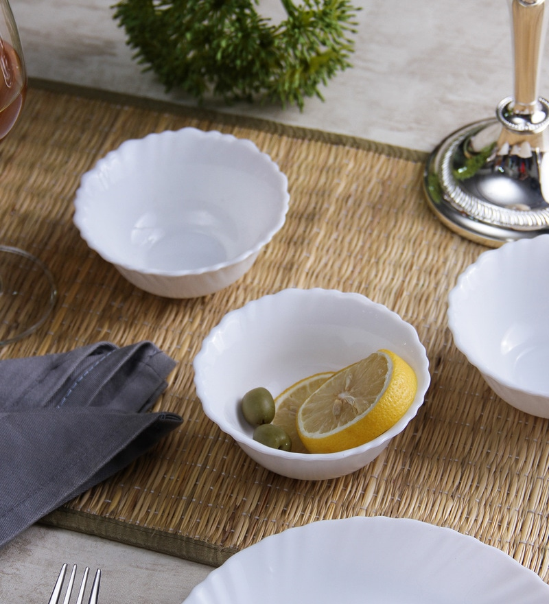 La Opala Diva Plain Fluted Opal Ware Bowls - Set Of 6