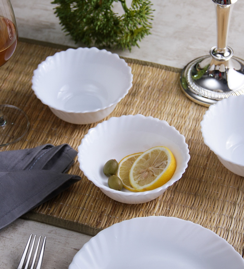 La Opala Diva Plain Fluted Opal Ware Soup Bowls - Set Of 6