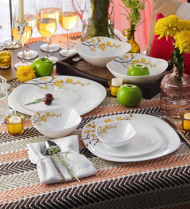 Diva Quadra Summertide Opal Ware Dinner Set - Set of 29 by La Opala
