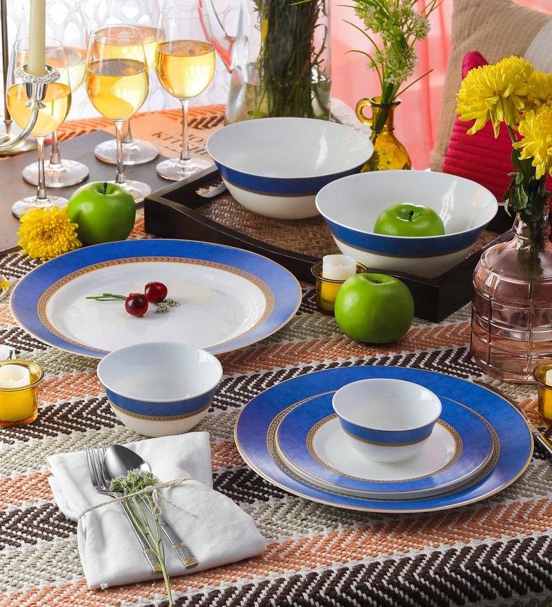 Diva Sovrana Ameerah Blue Opal Ware Dinner Set - Set of 33 by La Opala