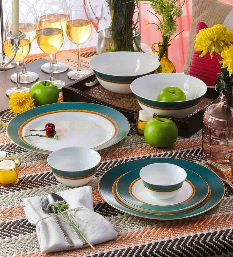 Diva Sovrana Empress Green Opal Ware Dinner Set - Set of 33 by La Opala
