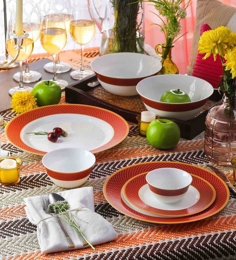 Diva Sovrana Regent Red Opal Ware Dinner Set - Set of 33 by La Opala
