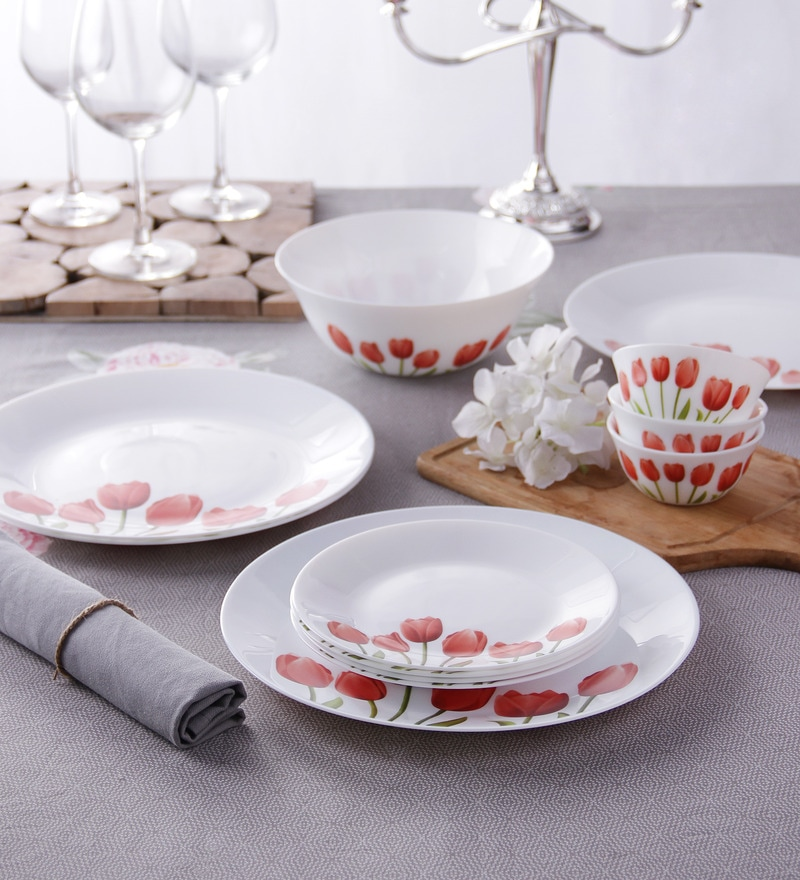 Diva Tulip Opal Ware 13-Piece Dinner Set by La Opala