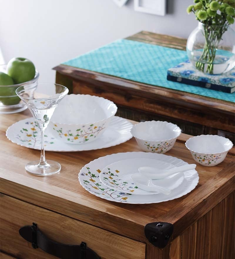 Flural Opalware Dinner Set - Set of 33 by La Opala