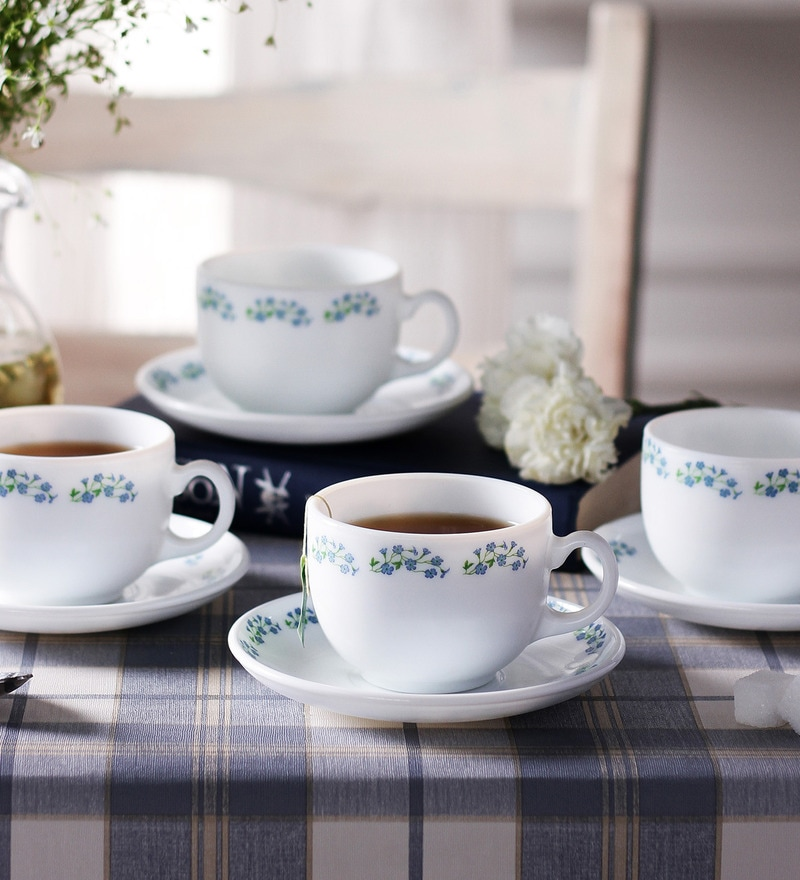 La Opala Iris Large Lavender Dew Opal Ware 180 ML Cup and Saucer - Set of 6