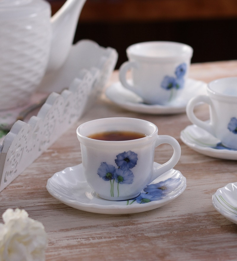 La Opala Tulip Blue Poppies Opal Ware 180 ML Cup and Saucer - Set of 6
