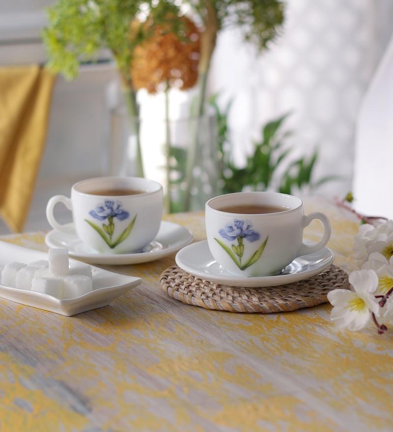 La Opala Iris Regular Royal Iris Opal Ware 160 ML Cup and Saucer - Set of 6