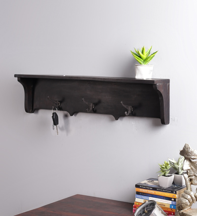 Brown Mango Wood Shelf with Key Holder by La Stella