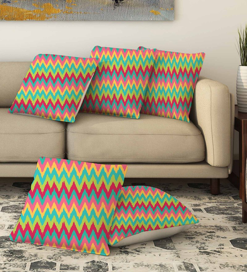 La Verve Multicolour Cotton 16 x 16 Inch Printed Cushion Cover