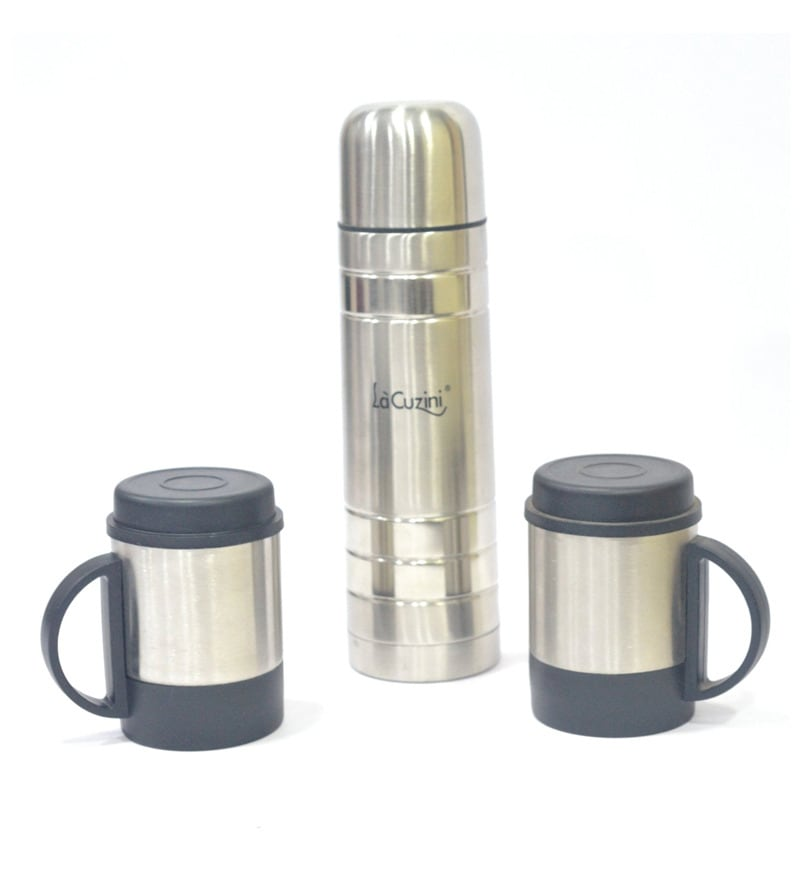 Lacuzini Silver Stainless Steel 500 ML Vacuum Flask with 2 Mugs