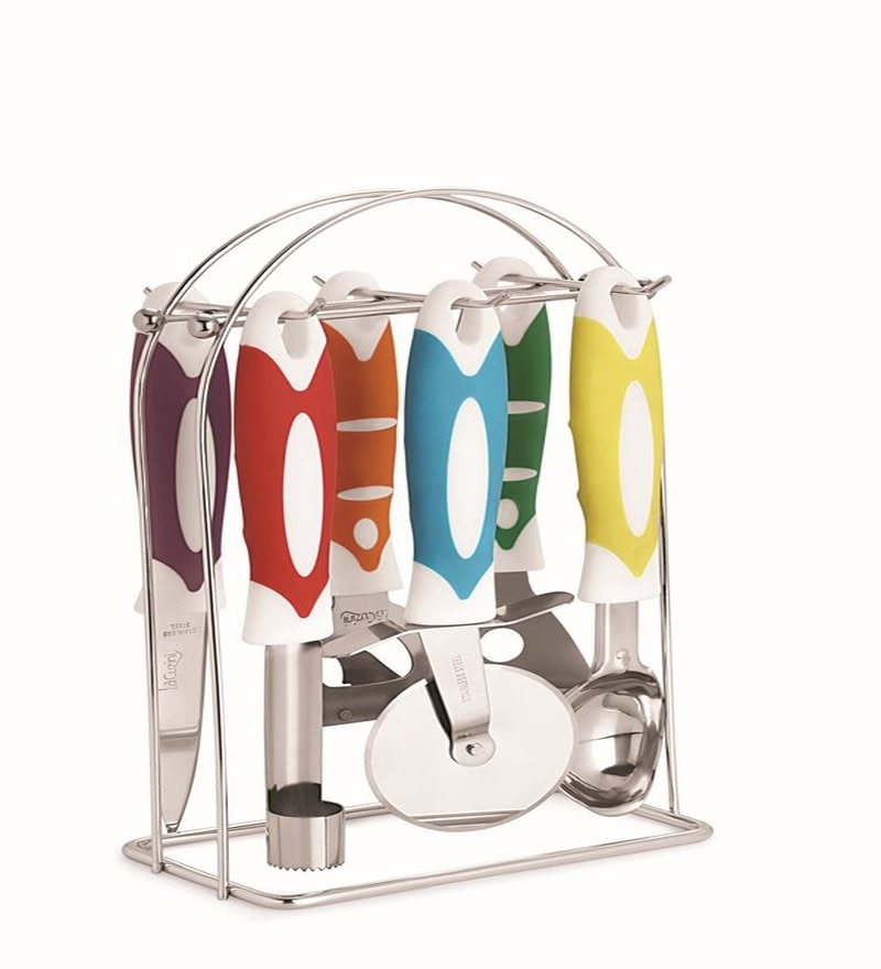 Lacuzini Multicolour Stainless Steel 6-piece Kitchen Tool Set with Stand