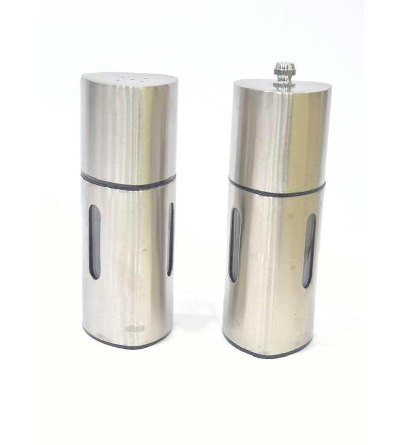 Lacuzini Silver Stainless Steel 250 ML Salt and Pepper Shaker - Set of 2