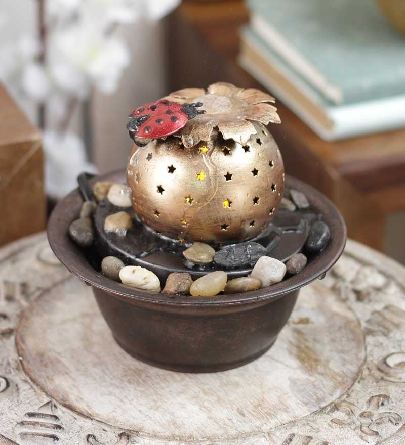 Importwala Brown & Gold Metal Lady Bug with Led Fountain