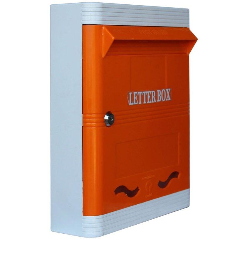 Buy Lamba S Wall Mounted Plastic Letter Box In Orange