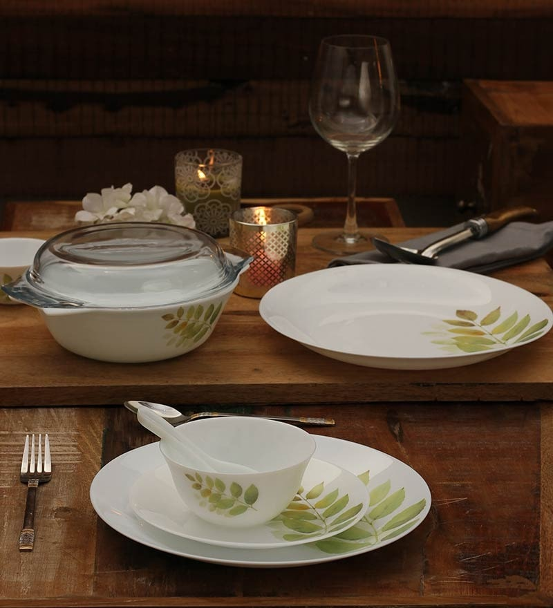 Diva Autumn Shadow Opalware Dinner Set - Set of 35 by La Opala