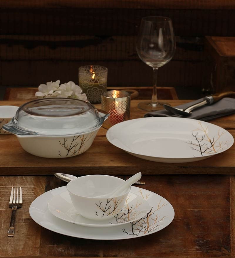 Diva Golden Fall Opalware Dinner Set - Set of 35 by La Opala