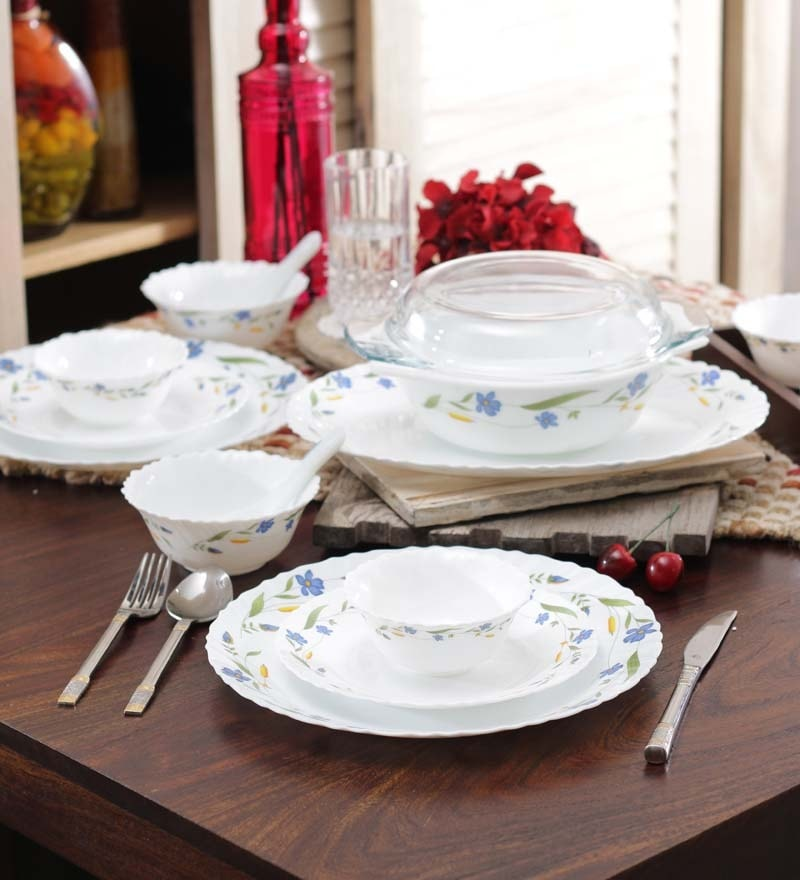 Diva Spring Blossom Opalware Dinner Set - Set of 35 by La Opala