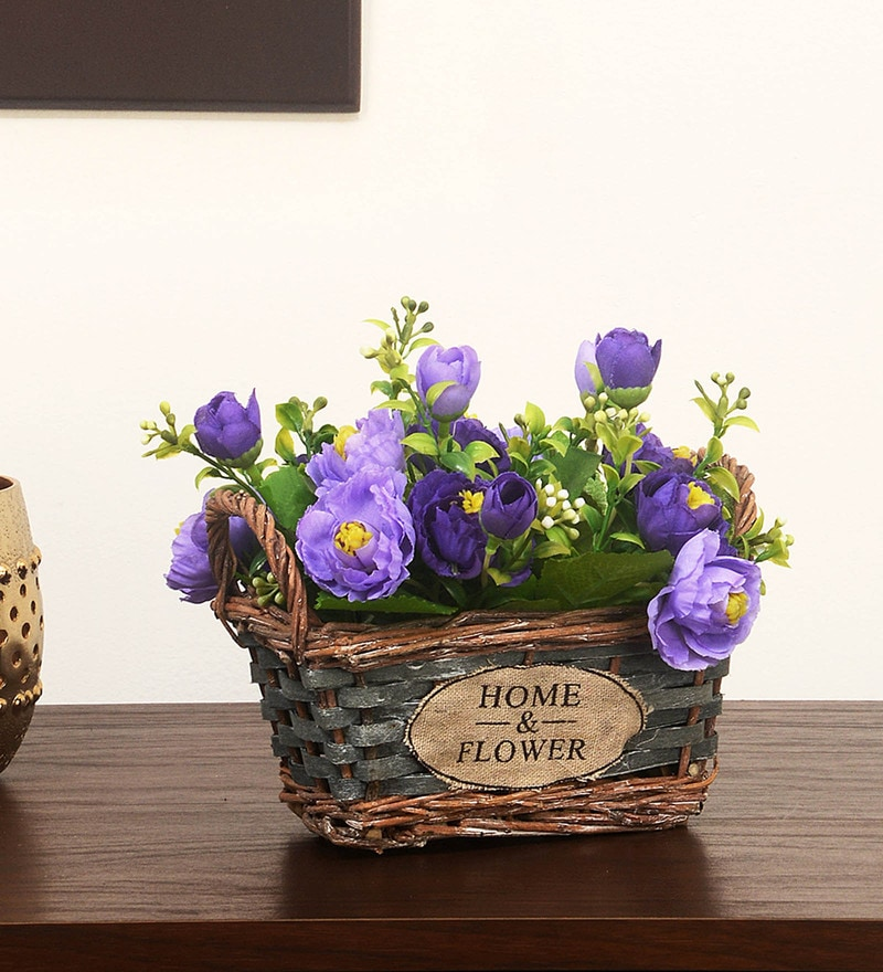 Lavender Artificial Flowers Potted Plant In Rectangular Shaped Cane Basket By @Home