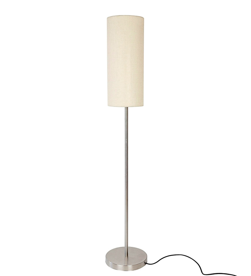 Buy beige iron cylinder shade floor lamp by lavish online for Floor lamp with cylinder shade