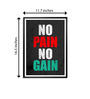 Lab No.4 - The Quotography Department Paper 12.6 x 17.3 Inch No Pain No Gain Motivating & Inspiring Typography Framed Poster