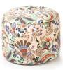 Large Cotton Round Ottoman Cover in Floral Design by Style Homez
