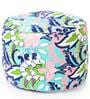 Large Cotton Canvas Floral Design Round Ottoman with Beans by Style Homez