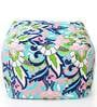 Large Cotton Canvas Floral Design Ottoman with Beans by Style Homez