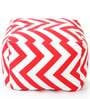 Large Cotton Canvas Striped (Square Shaped) Ottoman with Beans by Style Homez