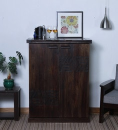 Lerro Solid Wood Large Bar Cabinet In Warm Chestnut Finish ...