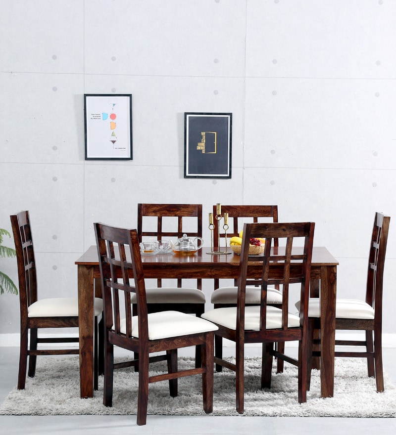 Raliegh Six Seater Dining Set in Provincial Teak Finish by Woodsworth