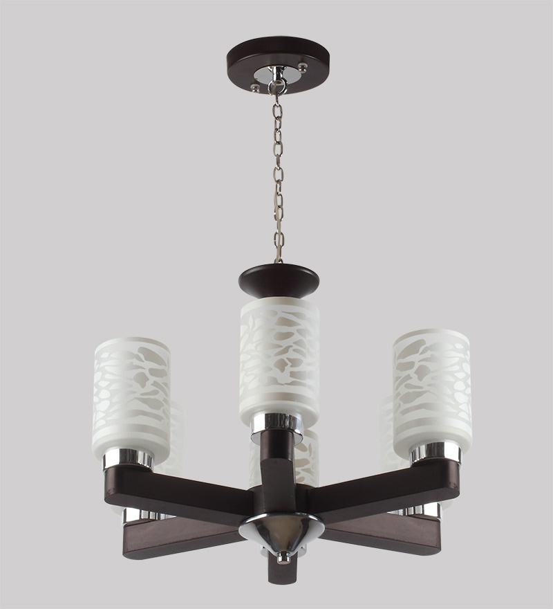 Contemporary Glass Metal Wood Chandelier CH277 by LeArc Designer Lighting