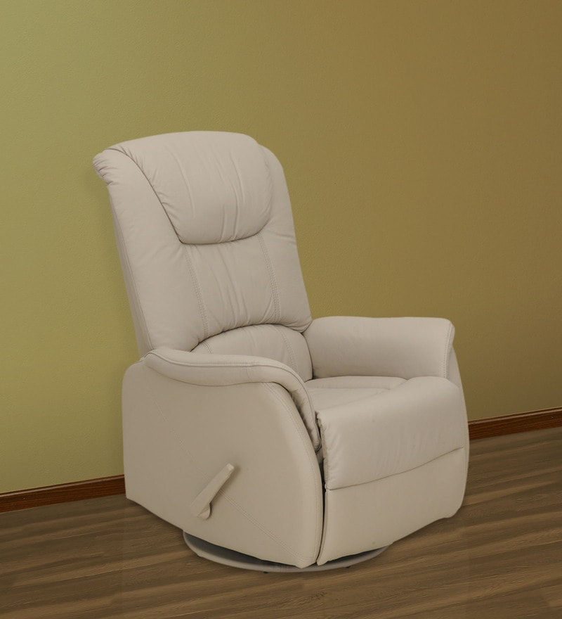 Leisure Man One Seater Recliner Chair in Off-White Genuine Leather by Royal Oak