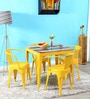 Letseng Four Seater Dining Set in Yellow Color by Bohemiana