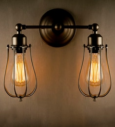 LightenUp Brown Metal & Glass 2 Way Wall Mounted Light at pepperfry