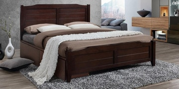 Hideo Queen Size Bed With Drawer Storage In Milan Walnut Finish