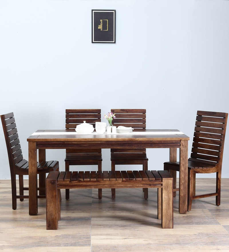 Glen Six Seater Dining Set with Bench in Provincial Teak Finish by Woodsworth