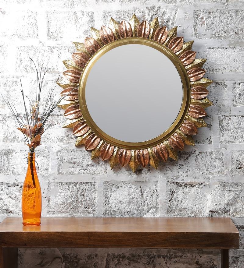Gold MDF and Copper Handmade Carved Sunflower Mirror by LifeEstyle