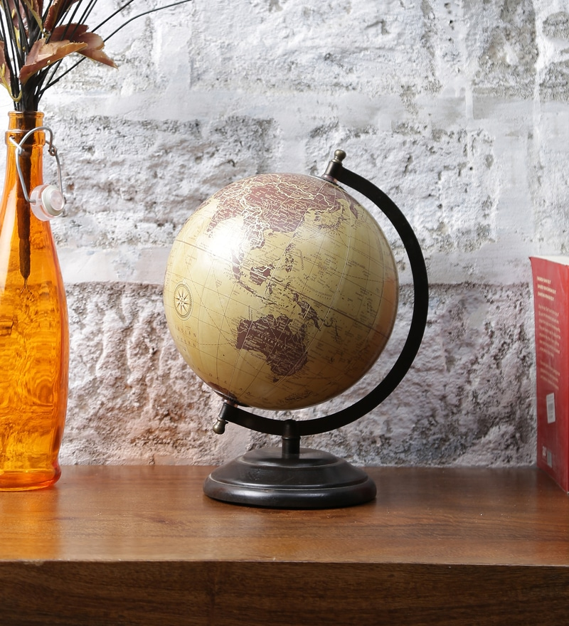 Brown & Green Metal and MDF World Globe by LifeEstyle