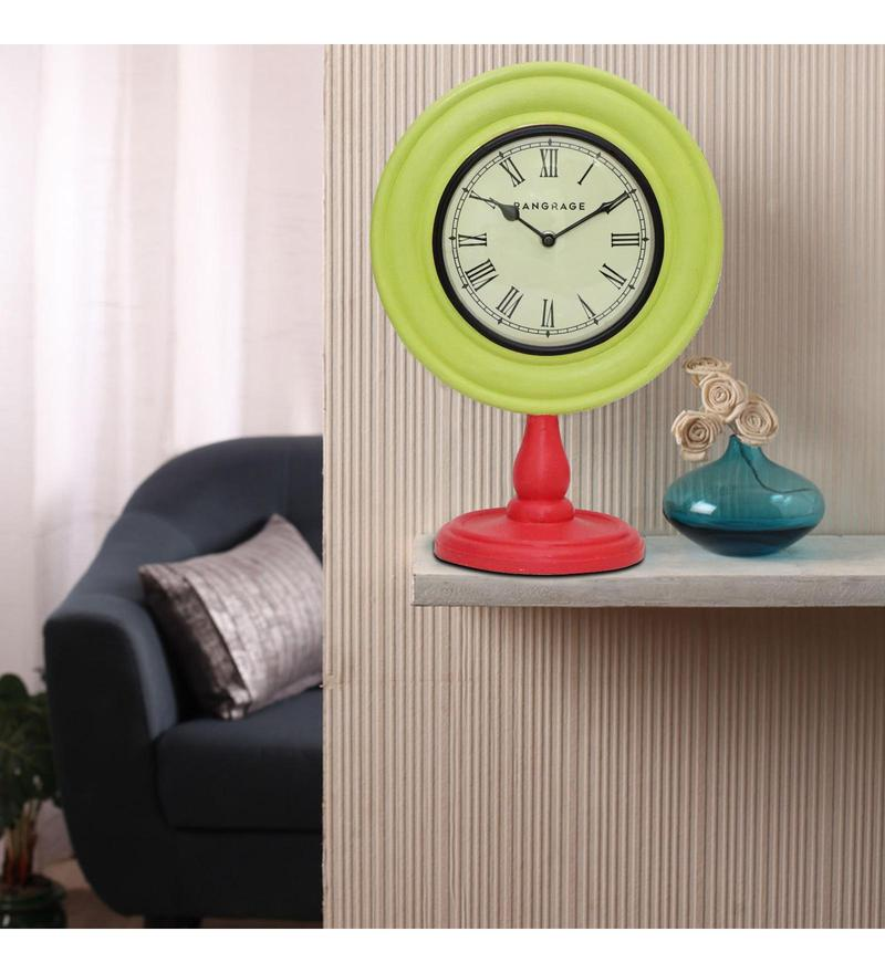 Light Green & Red MDF 10 x 6 x 14 Inch Classy Desk Clock by Rang Rage