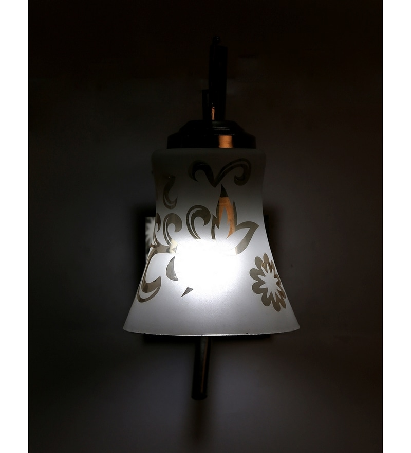 White and Silver Glass and Wood Wall Mounted Light by Lime Light