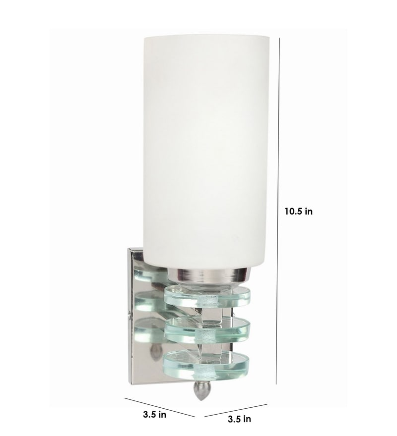 Buy Lime Light White Glass & Wood Wall Lamp Online - Upward - Wall Lights - Pepperfry