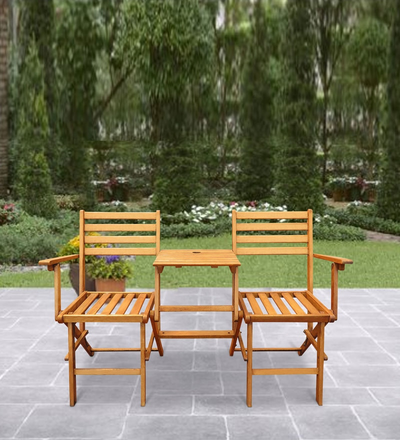 Linden Foldable Chairs with built-in Table in Center in Teak Oil Finish by Auspicious Home