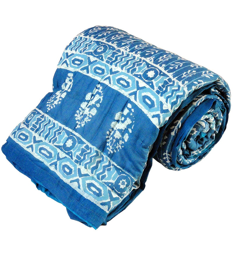 Blues Abstract Patterns Cotton Single Size Quilt 1 Pc by Little India
