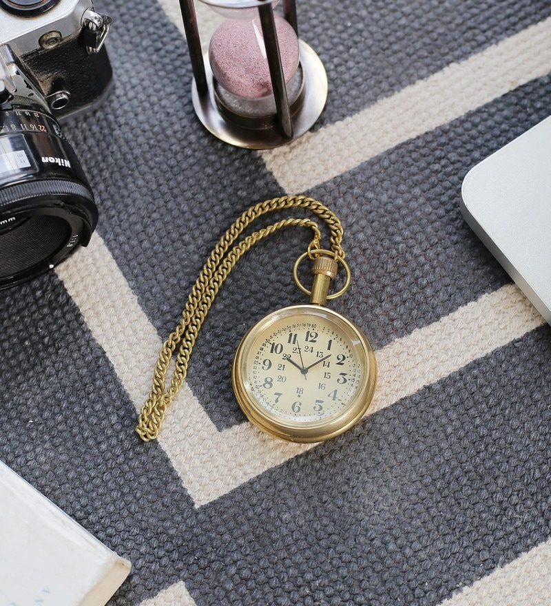 Brown Brass Antique Design Usable Real Gandhi Watch by Little India