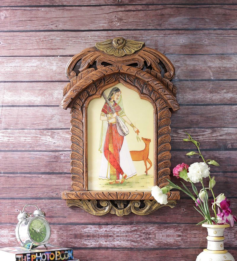 Brown Wooden Lady Playing Sitar with Deer Ethnic Jharokha by Little India