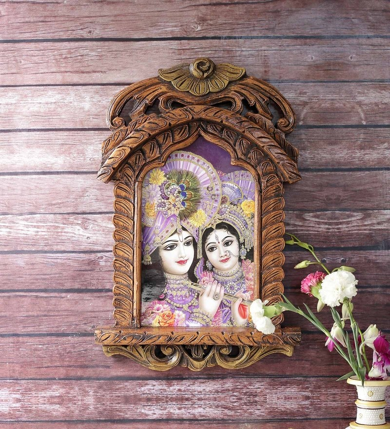 Brown Wooden Lord Saral Bihari & Radha Jharokha Painting by Little India