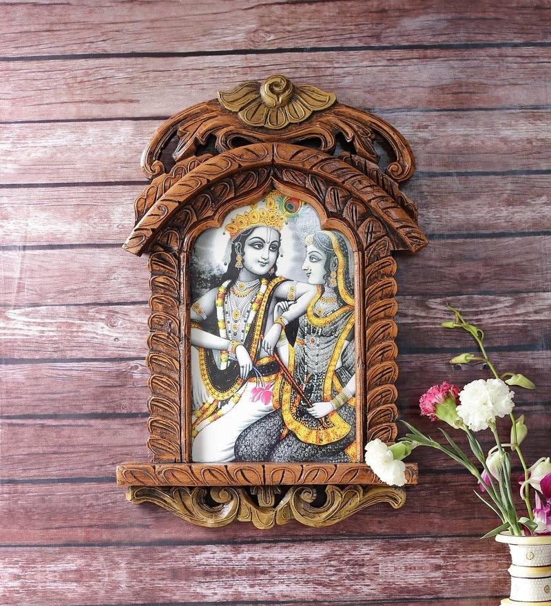 Brown Wooden Radha Krishna Jharokha Photo Frame by Little India